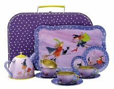 FRIENDLY WITCHES TEA SET 16PCE TIN TRAY CUP SAUCERS POT IN FIBREBOARD CARRY CASE