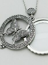 Magnifying Glass Necklace Butterfly Sliding SLVR Pendant Nature Animal Antique