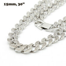 "Mens White Gold Finish Full Iced Out Hip Hop CZ 30"" Miami Cuban Chain Necklace"