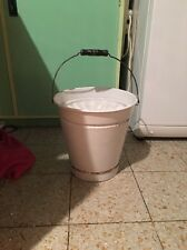 Vintage Enamel White Pail/ Bucket with Lid & Wooden Handle