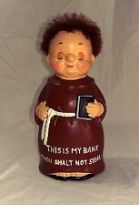 Vintage Coin Piggy Bank Monk Friar Thou Shall Not Steal 1950's Pottery Art 7.5""