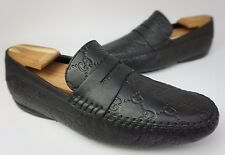 Gucci San Marino Men's Black Driving Loafer Leather Shoes Size 7 US / 6 G
