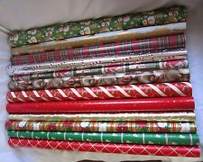 Vintage Lot 12 Partial Rolls Hallmark Christmas Gift Wrap Wrapping Paper Crafts