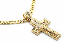 "Mens 14k Gold Plated Jesus Cz Cross Pendant Hip-Hop 24"" Cuban Necklace Chain M1"