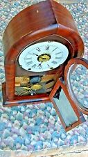 ANTIQUE JEROME AND CO NEW HAVEN CLOCK PAINTING GLASS W/ KEY  FOR PARTS OR REPAIR