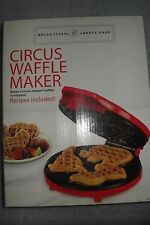 Red Circus Waffle Maker Bella Cucina  makes 3 waffles clown lion and elephant