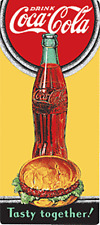 Coca Cola / Burger Tasty Together embossed metal fridge magnet (ar)