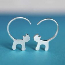 Mini Cute Jewelry Cat Earrings Ear Studs Silver Plated