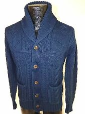 $395 POLO Ralph Lauren Men NAVY Blue SHAWL Collar CABLE Knit Cardigan Sweater M