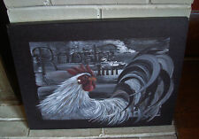 ROOSTER INN Rustic French Country Style Kitchen Canvas Sign Home Farm Decor NEW