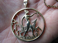 SUPERB  vintage 9ct Gold  OLA GORIE Pendant Necklace  NYMPH & FAWN 1989  in VGC