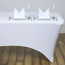White 4 ft RECTANGLE SPANDEX STRETCH TABLE COVER Fitted Tablecloth Wedding Party