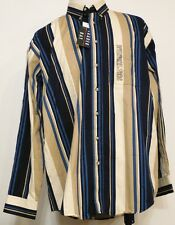 NEW NWT Trader Bay Blue Tan Stripe Button-Front L/S Cotton Twill Shirt XLT