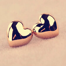 Women Heart Shape Silver/Rose Gold Plated Charm Ear Stud Earrings