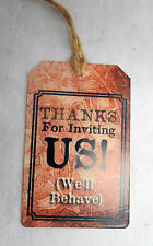 Enamelled Metal Gift Tag / Wine Bottle Tag - Thanks for Inviting Us