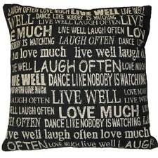 LIVE WELL LOVE CUSHION COVER TAPESTRY MODERN BLACK QUALITY 45 x 45cm 18 x 18""