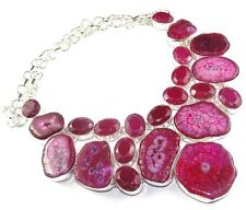 925 STERLING SILVER OVERLAY Solar Quartz & Labmade Ruby Cute Necklace 146 GMS