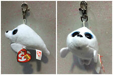 TY BEANIE BOOS CLIPS KEY RING ICY FOCA BIANCA WHITE SEAL T36624