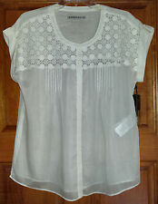 Kookai white shirt top blouse size 18 silk cotton crochet  NWT New