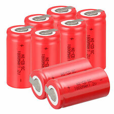 12 X Ni-Cd 1800mAh 1.2V  Sub C SC Rechargeable Battery NiCd Batteries - Red