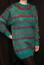 M~L Teal Green Jewel Tone Fuzzy Mohair Blend Vtg 80s Nordic Tunic Slouch Sweater