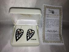 Women's 12K Gold Leaves Heart Black Sterling Silver Earrings Shepherd Hooks $250