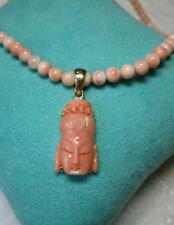 Pink Coral Necklace Guanyin Buddha 18K Gold Antique Chinese Jewelry Buddhism