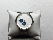 NWT Skagen SKW6187 Hald White Sunblast Dial Stainless Steel Mesh Mens Watch