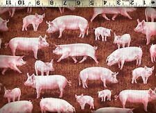 Timeless Treasures ~ Realistic Pigs Hogs Piglets ~ 100% Cotton Quilt Fabric BTY