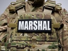 """3x8"""" MARSHAL Black White Hook Back Morale Raid Patch Badge for Plate Carrier"""