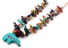 Hand Carved Multicolored Zuni Bear with Mixed Animals Fetish Necklace
