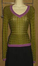 MISSONI - Green & Purple - Chevron Design RAYON Knit Sweater sz XS *NEW TAGS $45