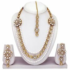 South Indian Traditional Gold Plated Wedding Necklace Earrings party Jewelry Set