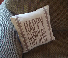 HAPPY CAMPERS LIVE HERE Linen Canvas Lodge Cabin Couch Throw Pillow Decor NEW