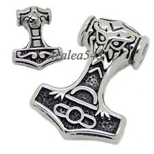 Myth THOR'S HAMMER Norse Magick Mjolnir 316L Stainless Steel Pendant + Necklace