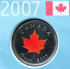 2007 Maple Leaf Oh Canada Colour Quarter Dollar 25 Cent Coin MINT UNCIRCULATED
