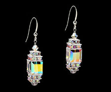 *CKS* Glittering Cube .925 Sterling Silver Earrings w Swarovski Crystal AB Upick
