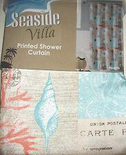 "Aquarelle Seaside Villa Fabric Shower Curtain 70"" x 72"" Shells Postcards Beach"