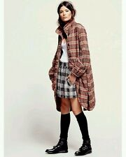 New $228 Free People Plaid Victorian Jacket Coat Red Combo SMALL