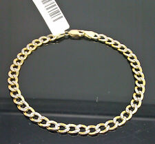 10K Yellow Gold Link Bracelet With White Diamond Cuts 5mm Width 8Inch Long