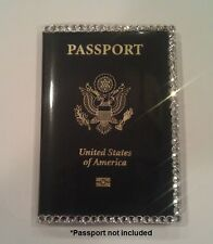 Travel Passport Cover / Holder Case w/Swarovski Crystal Bling Rhinestone