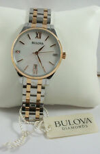 "AUTHENTIC Bulova 98P150 Women's Diamond Accent MOP TwoTone SS 8"" Watch $350"