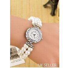 Onorevoli Abito / Costume Bianco Avorio Perla Argento CZ / Diamante Bracciale Orologio da polso