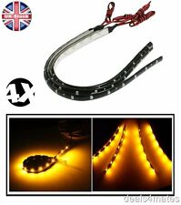 4 PCS 30CM 12 LED 3528 SMD AMBER FLEXIBLE DRL STRIP LIGHT WATERPROOF CAR HOME