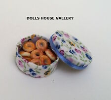 Donuts in a Floral Round Box, Doll House Miniature, 1.12 Scale Food