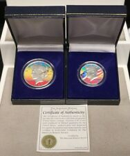 PETER MAX VINTAGE COLORED PEACE DOLLAR & KENNEDY HALF COIN SET by PETER MAX