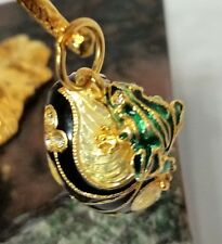 3D FROG TOAD 6gr Russian Style Sterling Silver Gilt Enamel Egg Pendant Guilloche