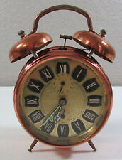 Vintage ZentRa Hans Licht Germany Wind Up Alarm Double Bell Copper Clock