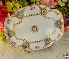Antique Haviland Limoges Porcelain Tray ~ Pink Rose Swags ~ Drop Rose ~ Gold