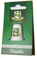 Thimble Irish Shield Shamrock Ceramic Collectors New Ireland Souvenir 7403